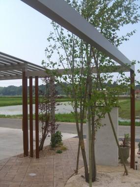 MATスタンプの優しい風合いで開放感のあるお庭に...倉吉市2